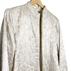 Eileen Fisher Open Front Silk Quilted Jacket Large